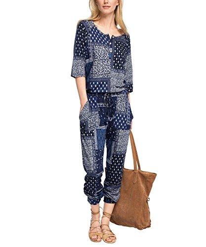 edc by ESPRIT Damen Relaxed Jumpsuits gemustert, Gr. 38 (Herstellergröße: M), Blau (NAVY 400)