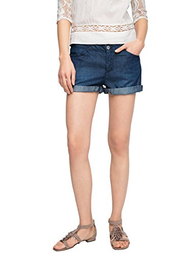 edc by ESPRIT Damen Short 046CC1C008-Im Jeans Look, Blau (Blue Dark Wash 901), W28