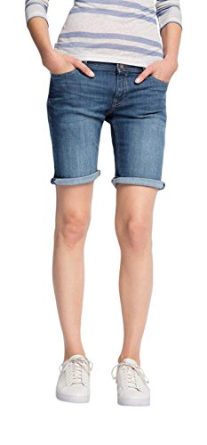 edc by ESPRIT Damen Short 046CC1C007-aus Denim, Blau (Blue Medium Wash 902), W28