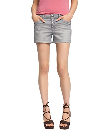 edc by ESPRIT Damen Short 056CC1C019-mit Muster, Grau (Grey Medium Wash 922), W28