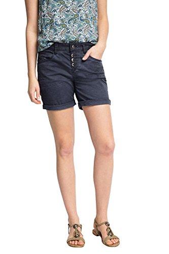 edc by ESPRIT Damen Short 046CC1C020-mit Stretch, Blau (Navy 400), 36