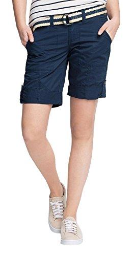 edc by ESPRIT Damen Straight Leg Bermuda PLAY TURN UP mit Gürtel, Gr. 42, Blau (DARK BLUE 405)