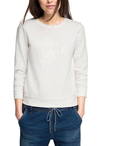 edc by ESPRIT Damen Sweatshirt 036CC1J006-Im Sportiven Look, Weiß (Off White 110), 36 (Herstellergröße: S)