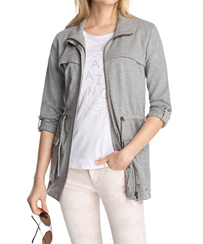 edc by ESPRIT Damen Sweatshirt Indoor Jacket, Gr. 38 (Herstellergröße: M), Grau (CW MID GREY 040)