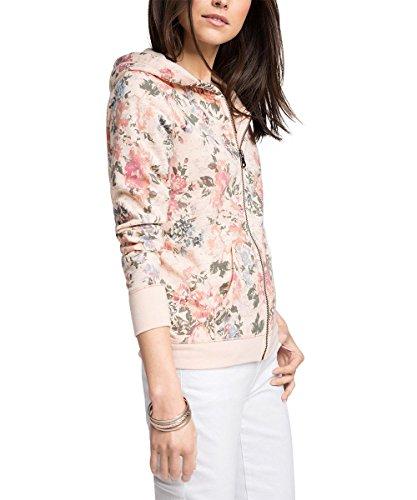 edc by ESPRIT Damen Sweatshirt Jacke mit Blumenmuster, Gr. 34 (Herstellergröße: XS), Rosa (NUDE 685)