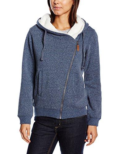 edc by ESPRIT Damen Sweatshirt Jacke mit Teddyfell, Gr. 36 (Herstellergröße: S), Blau (NAVY 400)
