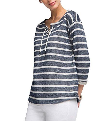 edc by ESPRIT Damen Sweatshirt gestreift, Gr. 40 (Herstellergröße: L), Blau (NAVY 400)