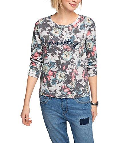 edc by ESPRIT Damen Sweatshirt mit Blumenmuster, Gr. 38 (Herstellergröße: M), Grau (LIGHT GREY 040)