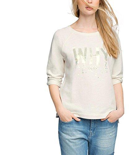 edc by ESPRIT Damen Sweatshirt mit Pailletten, Gr. 40 (Herstellergröße: L), Weiß (OFF WHITE 110)