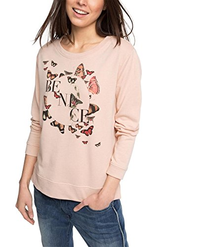 edc by ESPRIT Damen Sweatshirt mit Print, Gr. 38 (Herstellergröße: M), Beige (DUSTY NUDE 275)