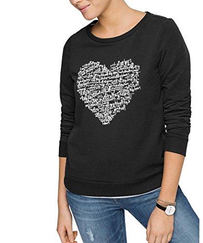 edc by ESPRIT Damen Sweatshirt mit Print, Gr. 38 (Herstellergröße: M), Schwarz (BLACK 001)