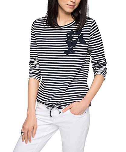 edc by ESPRIT Damen Sweatshirt 046CC1J003-mit Schmetterlingdruck, Weiß (Off White 110), 36 (Herstellergröße: S)