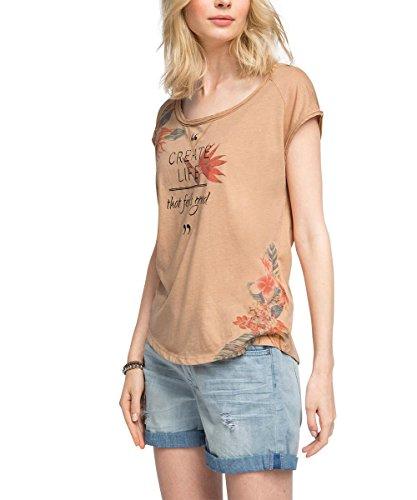 edc by ESPRIT Damen T-Shirt 056CC1K001, Gr. 38 (Herstellergröße: M), Beige (BEIGE 270)
