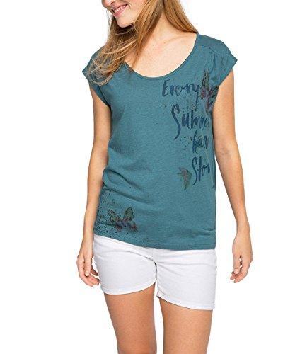 edc by ESPRIT Damen T-Shirt 066CC1K002, Gr. 38 (Herstellergröße: M), Grün (TEAL GREEN 370)