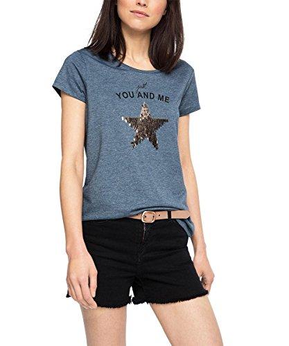 edc by ESPRIT Damen T-Shirt 066CC1K079 mit Pailetten, Blau (Grey Blue 420), 44 (Herstellergröße: XXL)