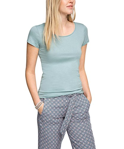 edc by ESPRIT Damen T-Shirt 026CC1K032-Basic, Blau (Light Turquoise 480), 38 (Herstellergröße: M)