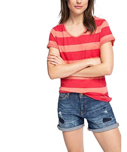 edc by ESPRIT Damen T-Shirt 056CC1K016-Basic Gestreift, Rot (Coral 645), 38 (Herstellergröße: M)
