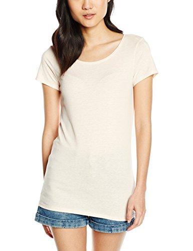 edc by ESPRIT Damen T-Shirt Basic, Gr. 40 (Herstellergröße: L), Rosa (NUDE 685)