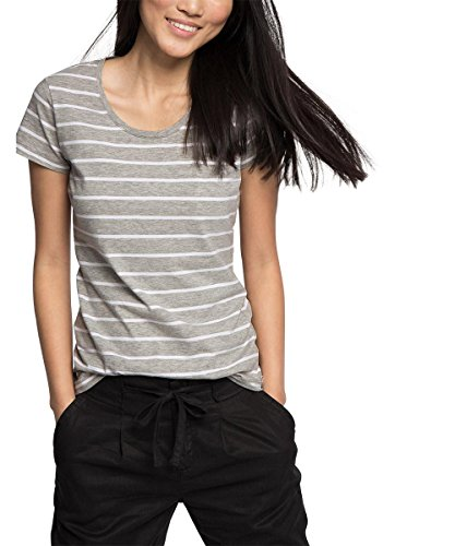 edc by ESPRIT Damen T-Shirt 046CC1K048-Basic, Grau (Medium Grey 035), 38 (Herstellergröße: M)