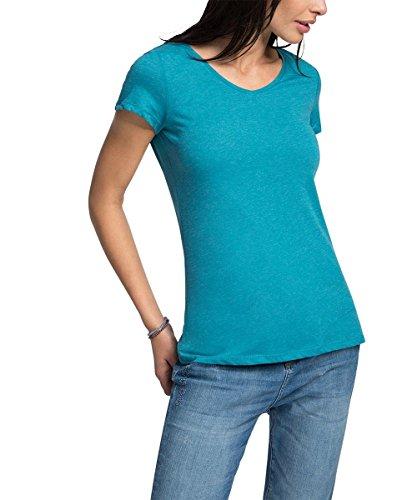 edc by ESPRIT Damen T-Shirt 046CC1K046-Basic, Grün (Teal Green 370), 34 (Herstellergröße: XS)