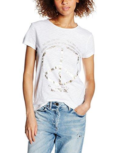 edc by ESPRIT Damen T-Shirt 046CC1K057-Foil Aw Tee, Weiß (White 100), 38 (Herstellergröße: M)