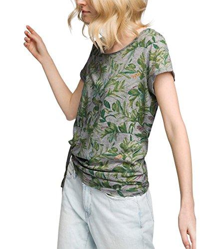 edc by ESPRIT Damen T-Shirt 056CC1K013-Gemustert, Grau (Medium Grey 035), 38 (Herstellergröße: M)