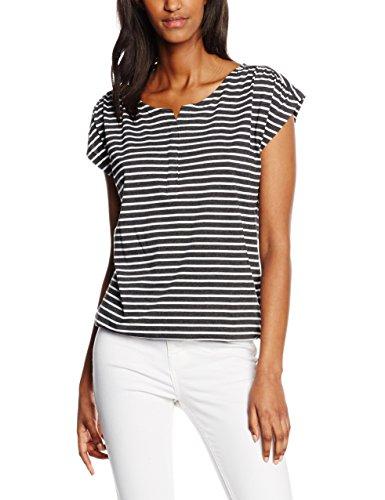 edc by ESPRIT Damen T-Shirt 046CC1K010-Gestreift, Schwarz (Black 001), 36 (Herstellergröße: S)