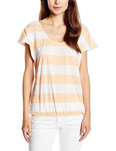 edc by ESPRIT Damen T-Shirt Stripe open back, Gr. 40 (Herstellergröße: L), Mehrfarbig (PEACH 840)