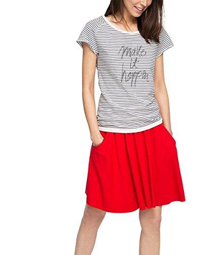 edc by ESPRIT Damen T-Shirt gestreift, Gr. 36 (Herstellergröße: S), Weiß (OFF WHITE 110)