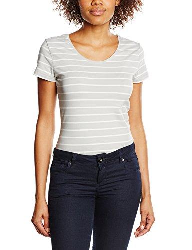edc by ESPRIT Damen T-Shirt gestreift, Gr. 38 (Herstellergröße: M), Grau (LIGHT GREY 040)