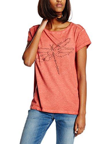 edc by ESPRIT Damen T-Shirt im Vintage Look, Gr. 38 (Herstellergröße: M), Orange (TERRACOTTA 805)