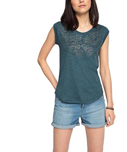 edc by ESPRIT Damen T-Shirt 056CC1K047-mit Druck, Blau (Petrol Blue 450), 34 (Herstellergröße: XS)