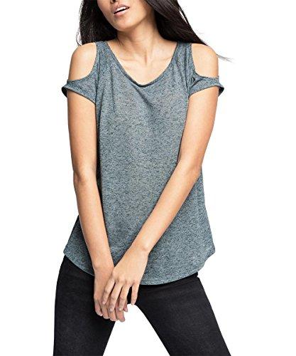 edc by ESPRIT Damen T-Shirt 036CC1K036-mit Leinen, Blau (Dark Blue 405), 36 (Herstellergröße: S)