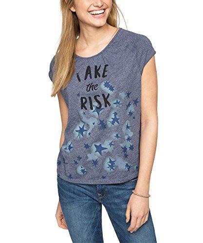 edc by ESPRIT Damen T-Shirt mit Print, Gr. 38 (Herstellergröße: M), Blau (GREY BLUE 420)