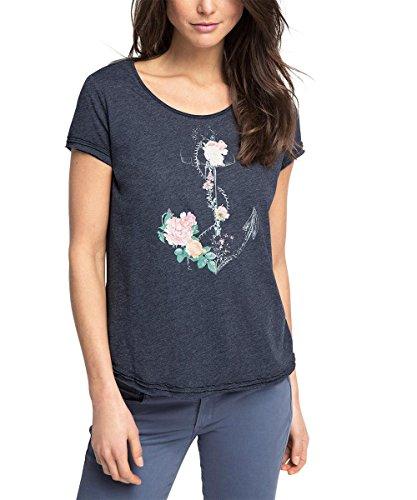 edc by ESPRIT Damen T-Shirt mit Print, Gr. 38 (Herstellergröße: M), Blau (NAVY 400)