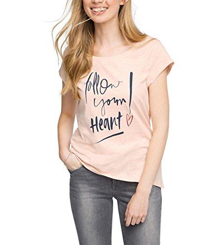 edc by ESPRIT Damen T-Shirt mit Print, Gr. 38 (Herstellergröße: M), Rosa (NUDE 685)