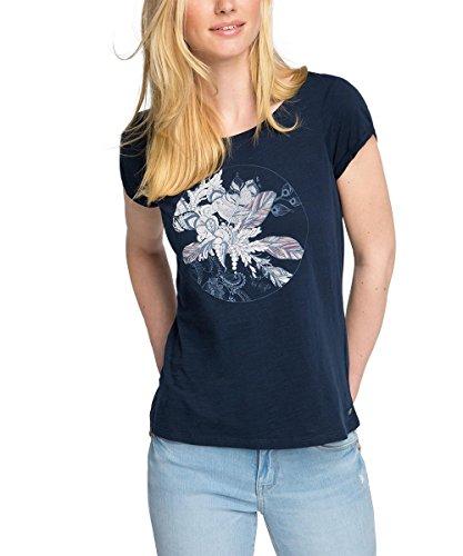 edc by ESPRIT Damen T-Shirt mit Print, Gr. 40 (Herstellergröße: L), Blau (NAVY 400)