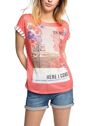 edc by ESPRIT Damen T-Shirt 056CC1K041-mit Print, Mehrfarbig (Coral 645), 38 (Herstellergröße: M)