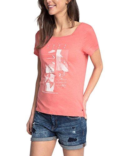 edc by ESPRIT Damen T-Shirt 056CC1K010-mit Print, Rot (Coral 645), 38 (Herstellergröße: M)