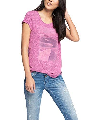 edc by ESPRIT Damen T-Shirt 046CC1K019-mit Print, Violett (Violet 505), 40 (Herstellergröße: L)