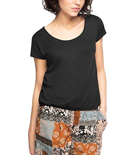 edc by ESPRIT Damen T-Shirt 046CC1K050-mit Rückendetails, Schwarz (Black 001), 42 (Herstellergröße: XL)