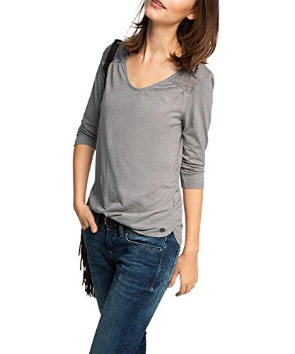 edc by ESPRIT Damen T-Shirt 105CC1K033-mit Spitze, Grau (Gunmetal 015), 36 (Herstellergröße: S)