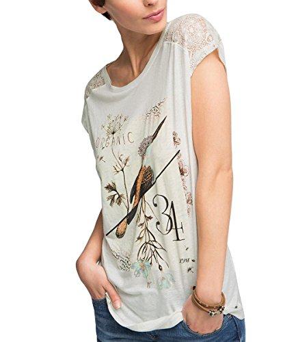 edc by ESPRIT Damen T-Shirt mit Spitzendetail, Gr. 34 (Herstellergröße: XS), Weiß (OFF WHITE 110)