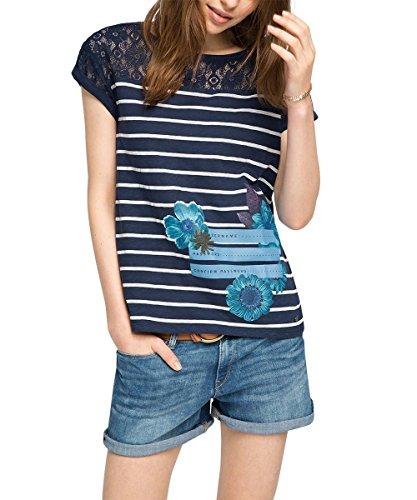 edc by ESPRIT Damen T-Shirt mit Spitzendetail, Gr. 40 (Herstellergröße: L), Blau (NAVY 400)