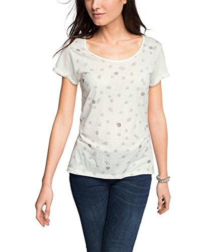 edc by ESPRIT Damen T-Shirt mit Strasspunkten, Gr. 38 (Herstellergröße: M), Weiß (OFF WHITE 110)