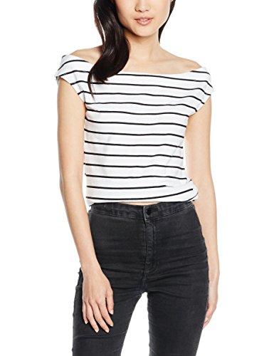 edc by ESPRIT Damen T-Shirt schulterfrei, Gr. 38 (Herstellergröße: M), Weiß (WHITE 100)