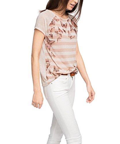 edc by ESPRIT Damen Ärmellos T-Shirt mit Print, Gr. 36 (Herstellergröße: S), Rosa (NUDE 685)