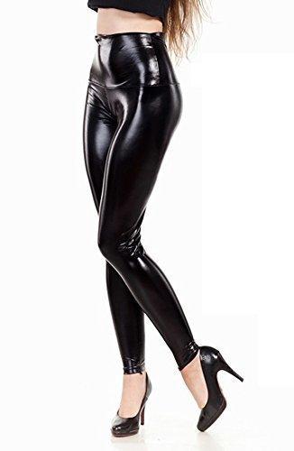 elomoda Latex Look Leggings hoher bund schwarz glanz Gr. 36 bis 3XL (XL/42)