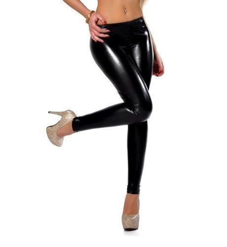 elomoda Leggings Latex Look schwarz Lack Glanz Gr. 36 38 40 42 44 46 ,907 (M/38)