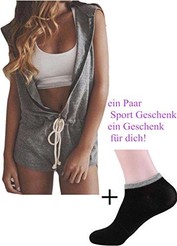 jumpsuit damen Kolylong Zipper ärmel Hoodie Jumpsuit kurze Hose (M, Grau)